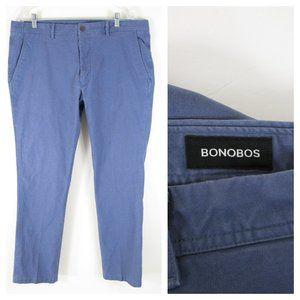 Bonobos Blue Flat Front Tailored Chinos Pants 38